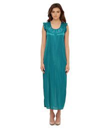 Miss Clyra Turquoise Satin Nighty & Night Gowns