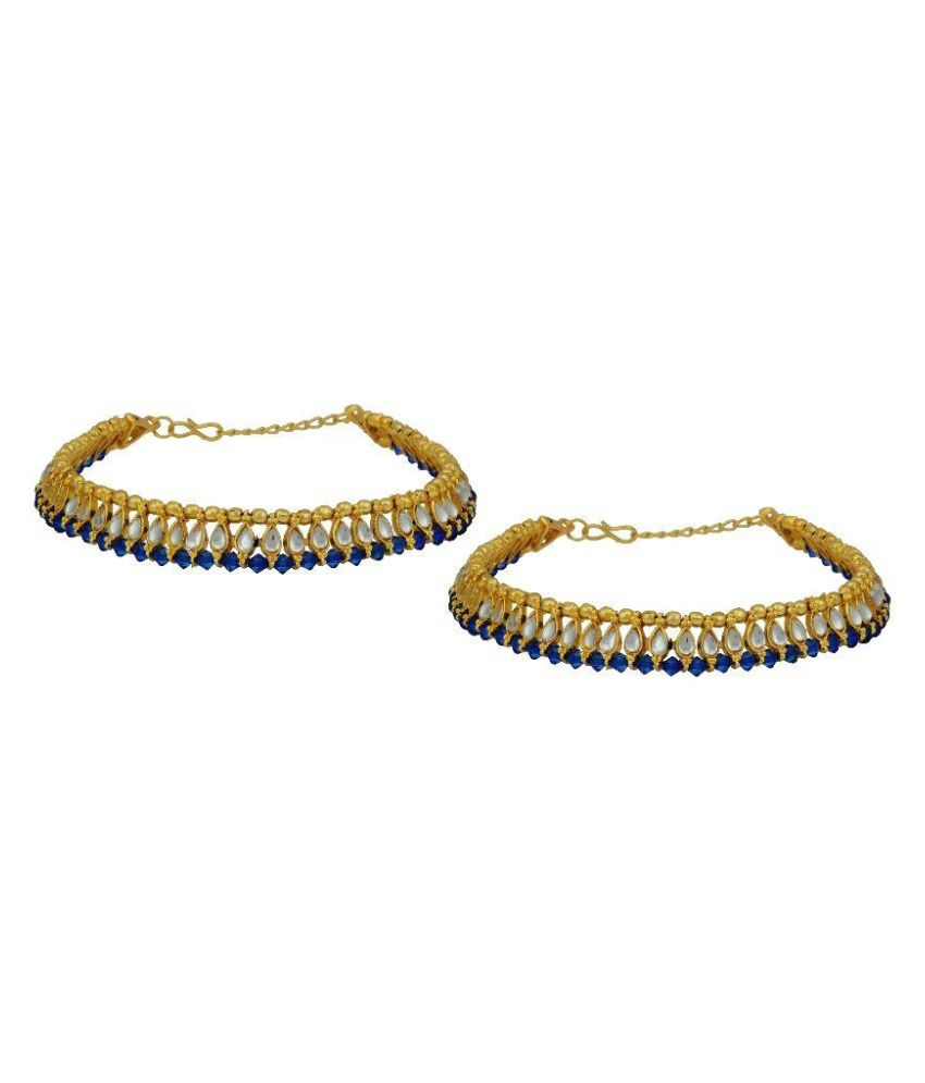 High Trendz Gold Plated Kundan Payal Anklets For Girls & Women