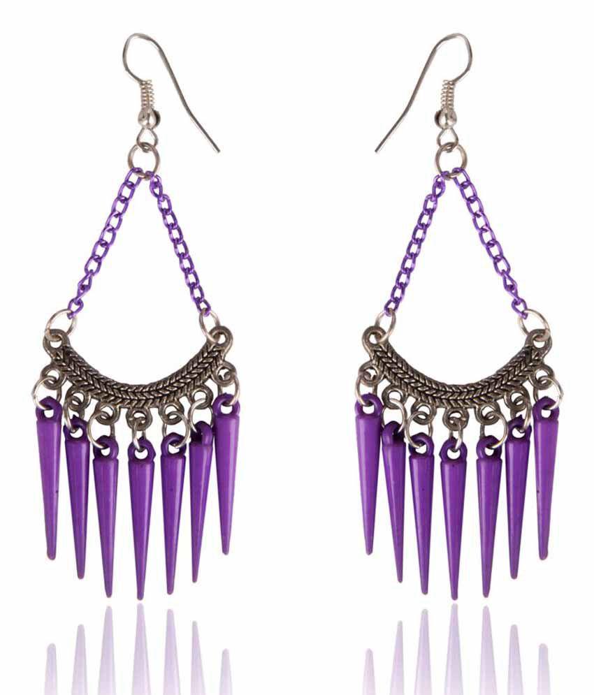Diva Walk Purple Jhumki Earrings