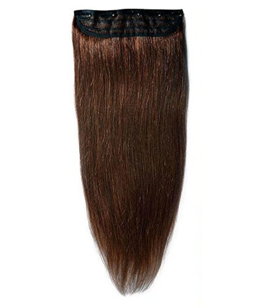 Majik Clip In Straight Remy Human Hair Extensions Medium Brown 30