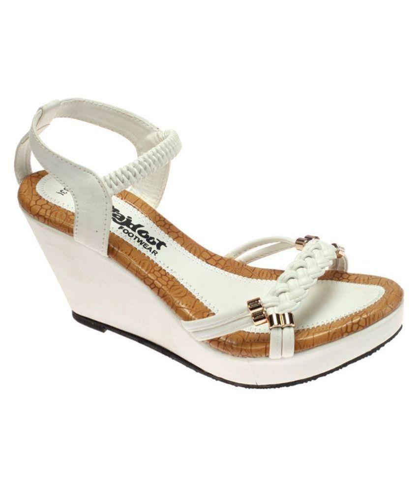 Rajdoot White Wedges Heels