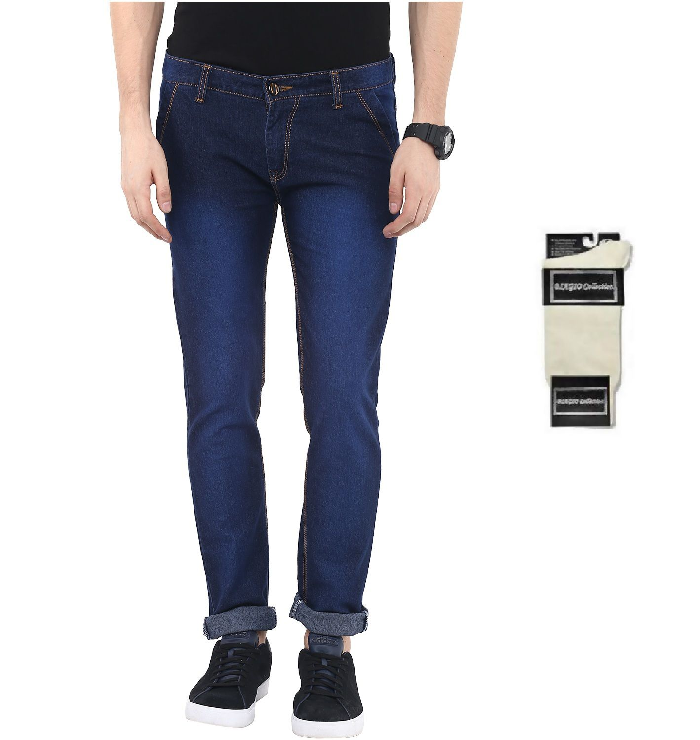 Urbano Fashion Blue Slim Fit Stretch Jeans With Free 1 Pair Of White Socks