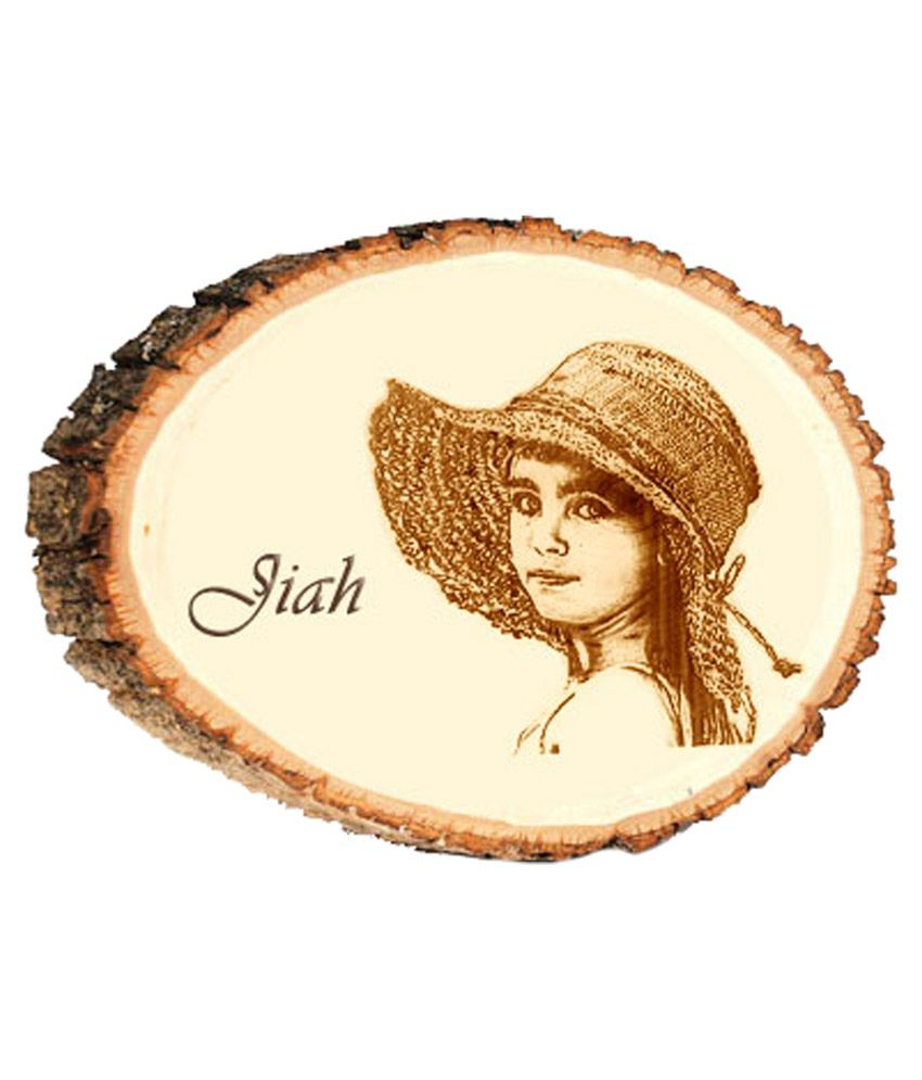 Personalized Gift - Engraved Natural Wood Round Photo Plaque