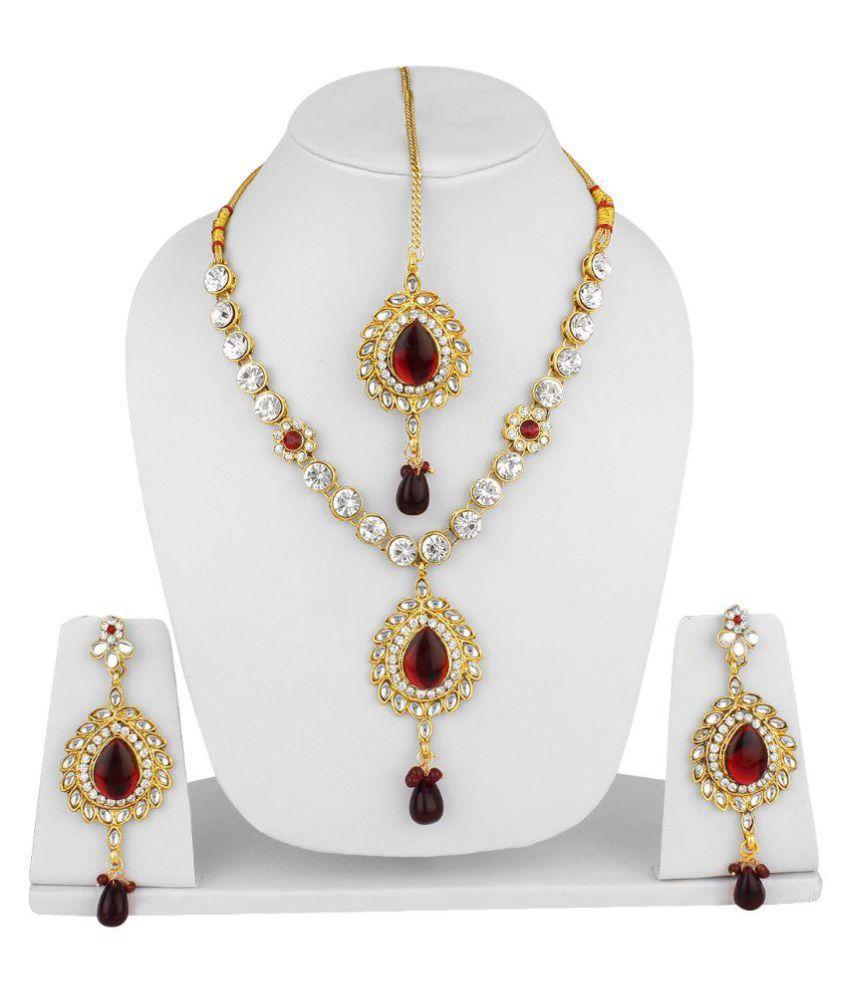 Jewels Guru Multicolor Necklace Set with Maang Tikka