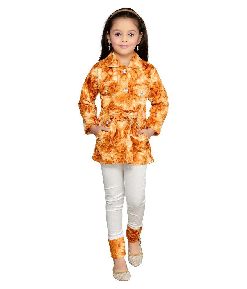 Aarika Fawn Flower Net Wollen Jacket With Legging