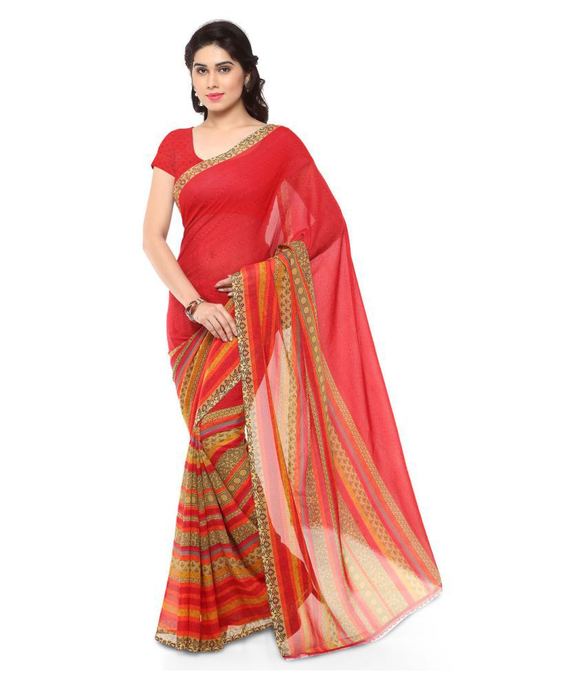 Anand Sarees Red and Beige Georgette Saree