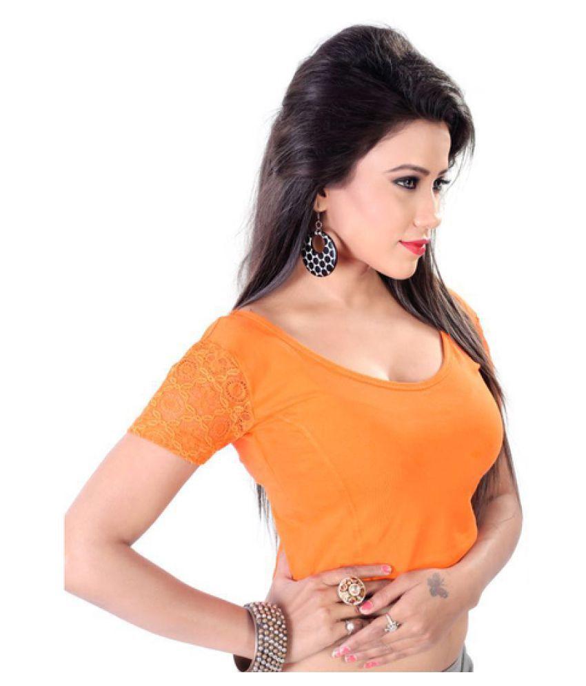 Fressia Fabrics Orange Round Shape Back Blouse