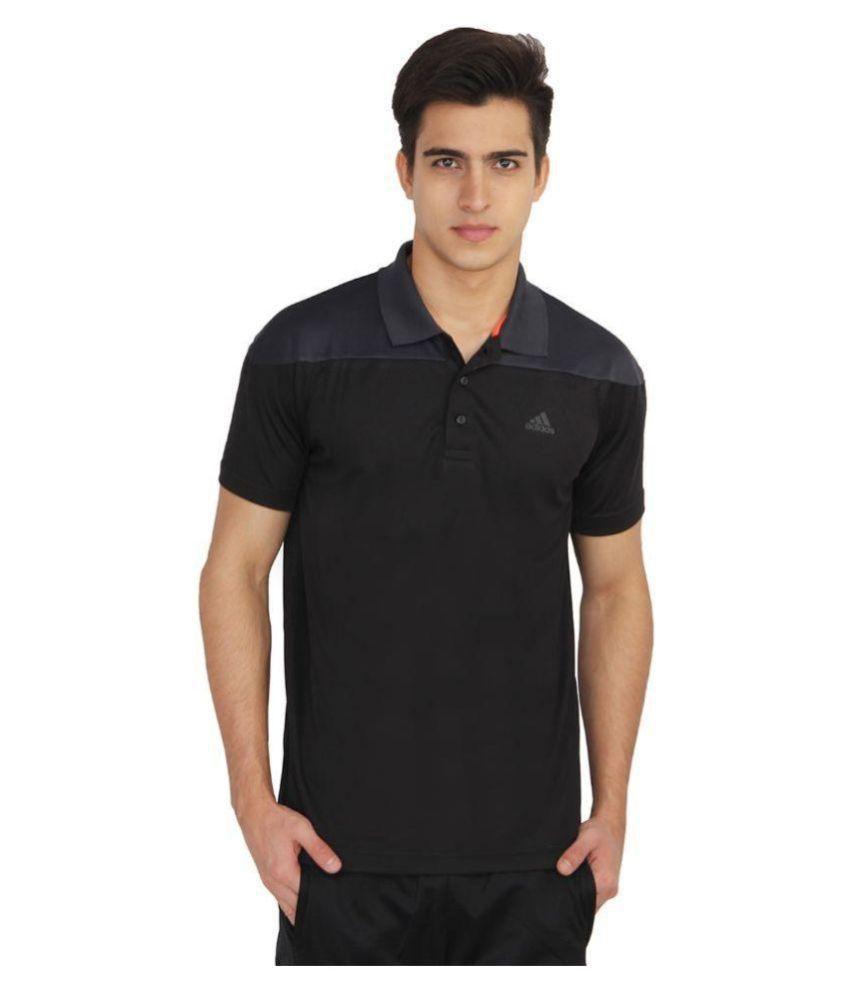 Adidas Black Regular Fit Polo T Shirt