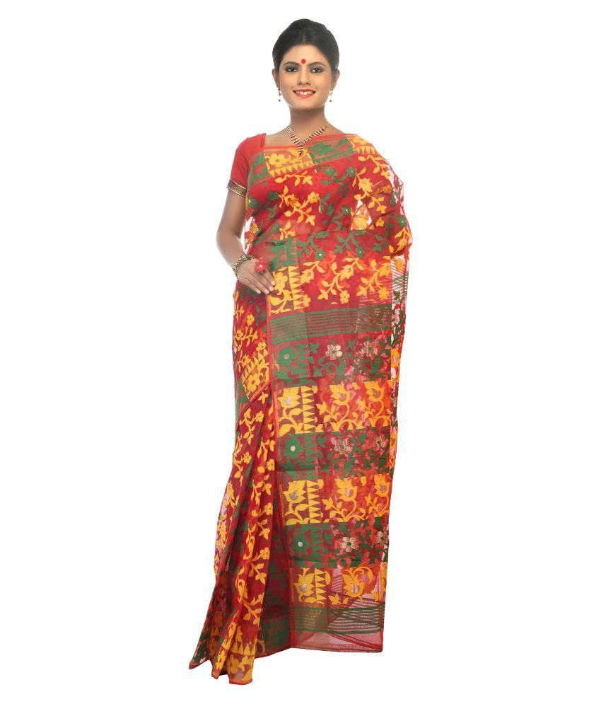 Dhakeswari Bastralaya Multicoloured Raw Silk Saree