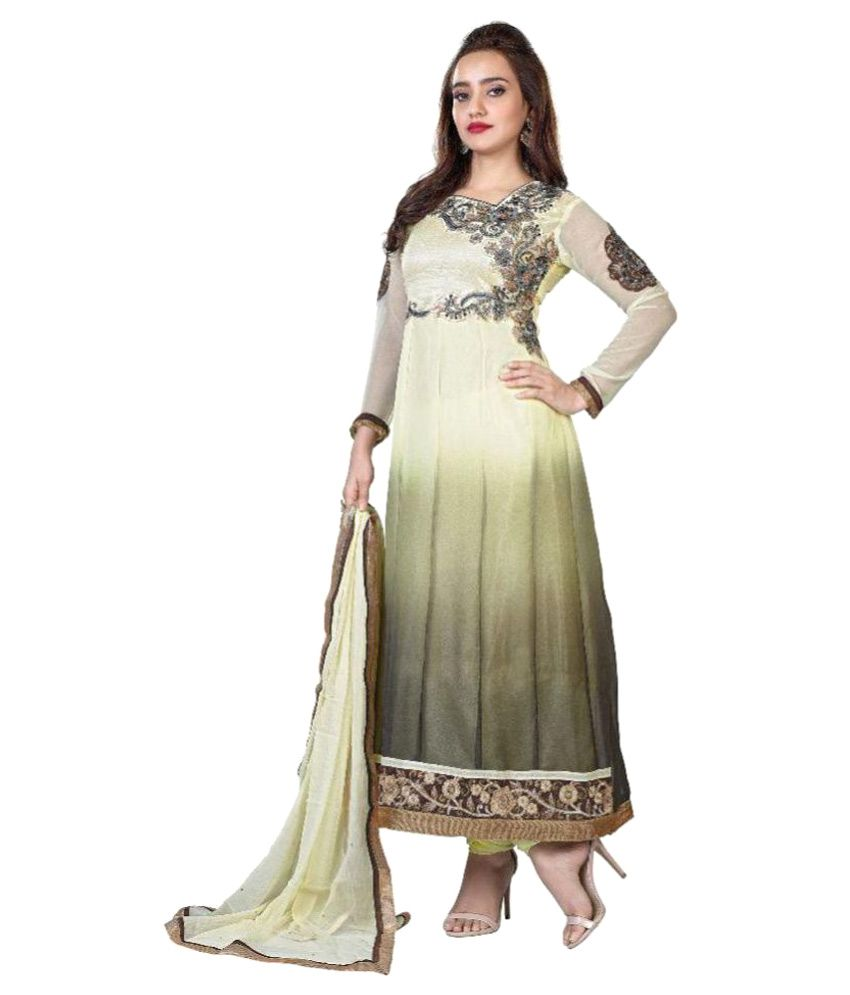 Fabfiza Multicoloured Georgette A-line Stitched Suit