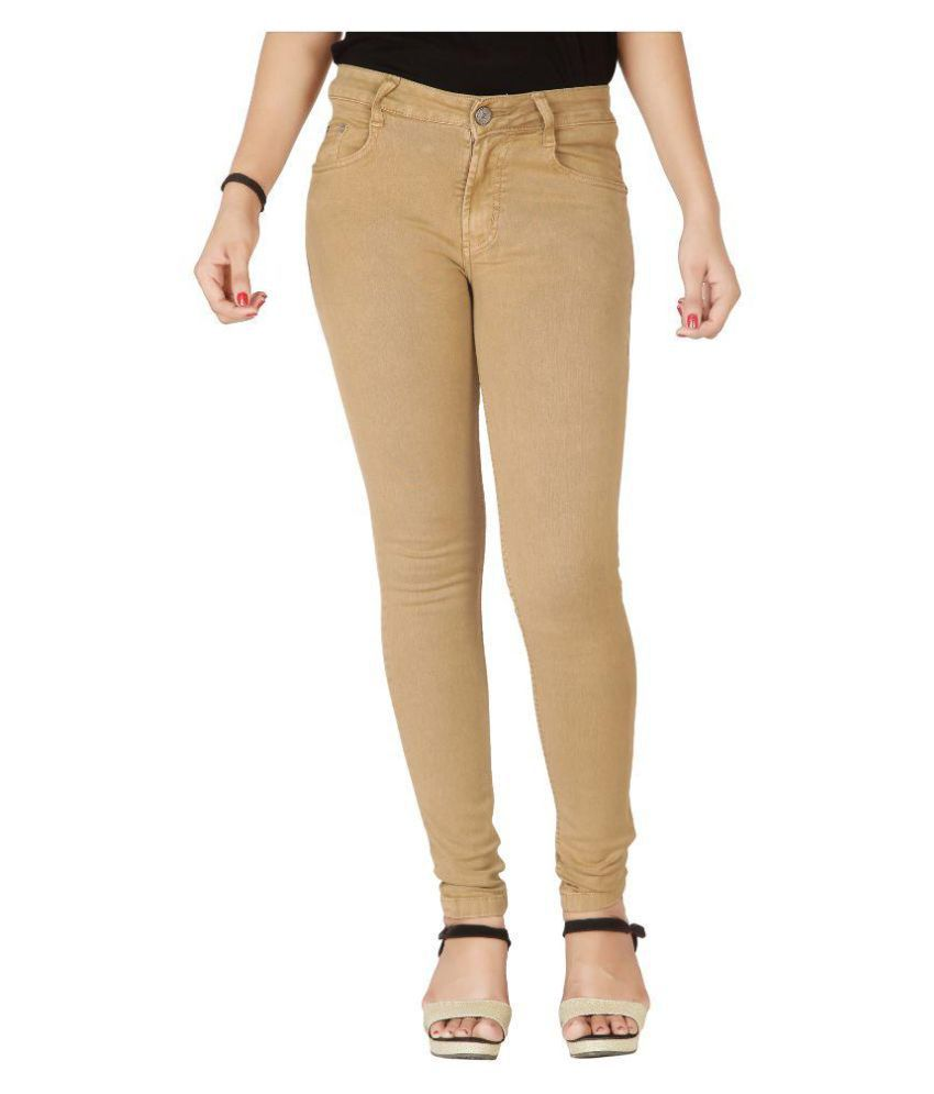 Flirt Nx Dark Beige Denim Lycra Jeans