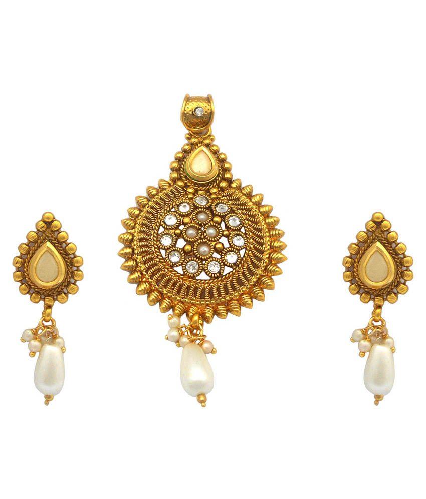 Rejewel 22k Gold Plated Antique Pendant Set
