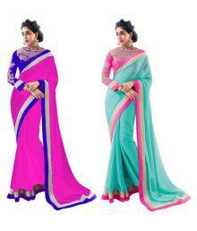New Designer Multicoloured Chiffon Saree Combos - 670313996814
