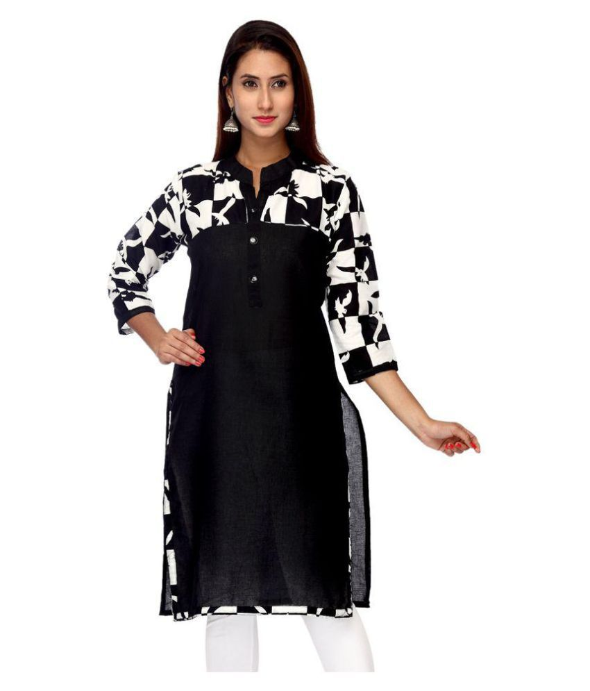 Tystha Black Cotton Straight Kurti