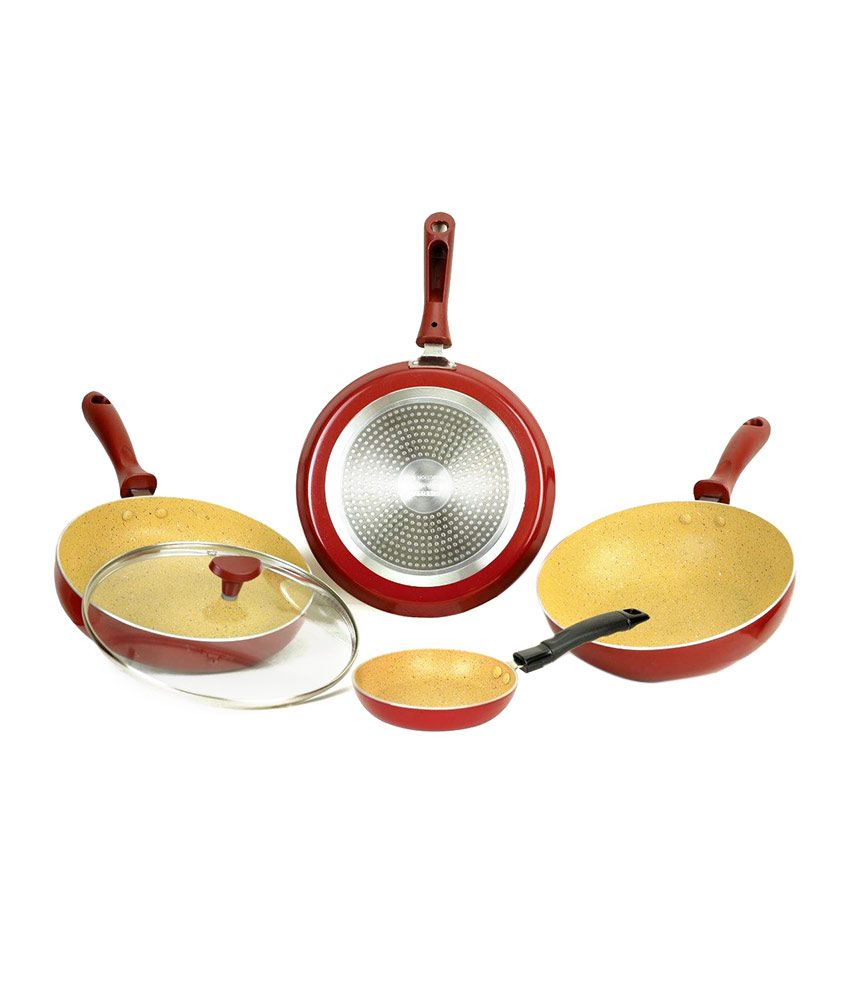 Upto 65% + Extra 10% Off On Kitchenware By Snapdeal   Crystal Non-Stick Marble Plus Cookware set 4 Pcs @ Rs.1,511
