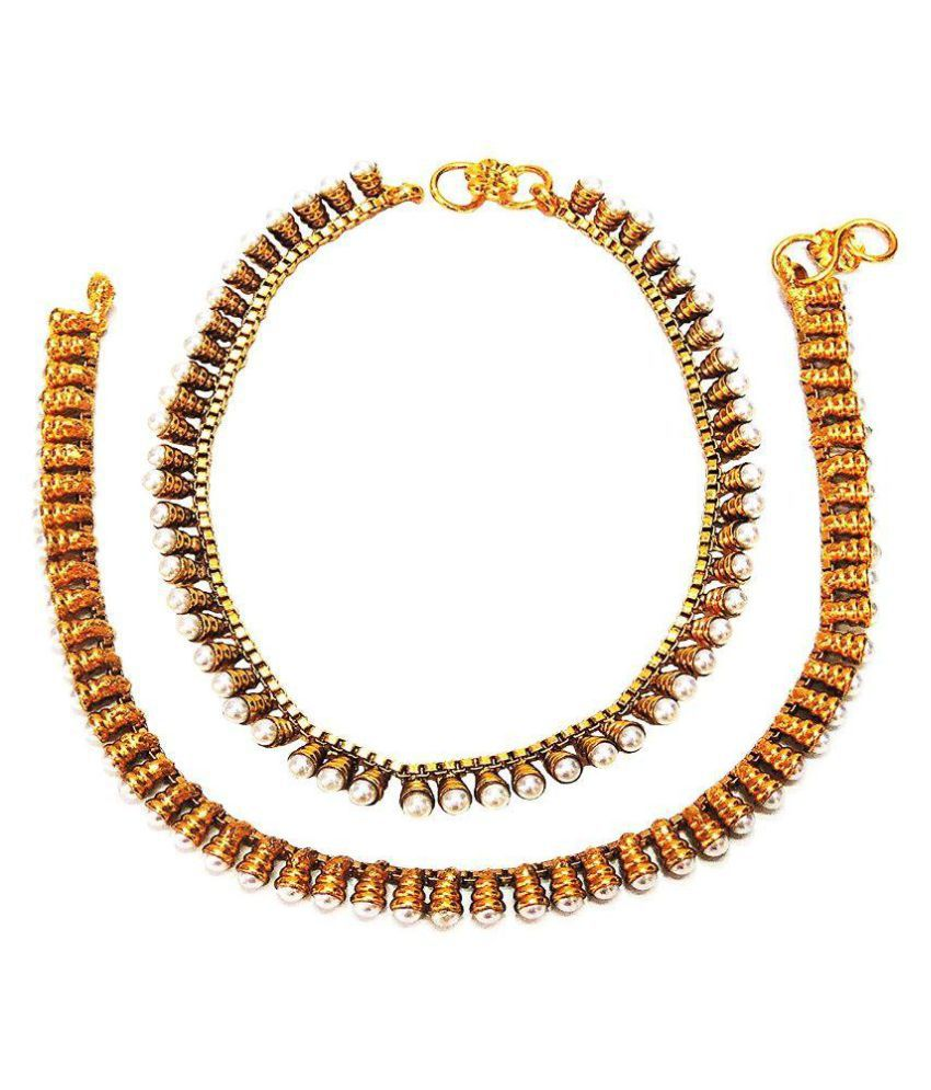 Satyam Jewellery Nx Traditional Pearl Anklets/Payal For Women Fashion Jewellery
