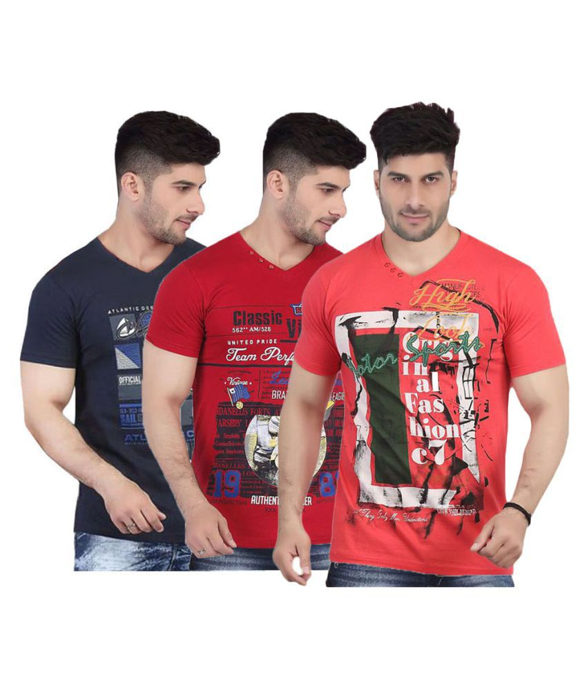 V Plus 9 Multi V-Neck T-Shirt Pack of 3