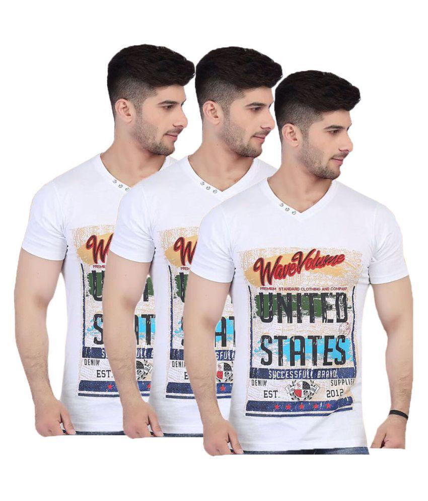 V Plus 9 White V-Neck T-Shirt Pack of 3