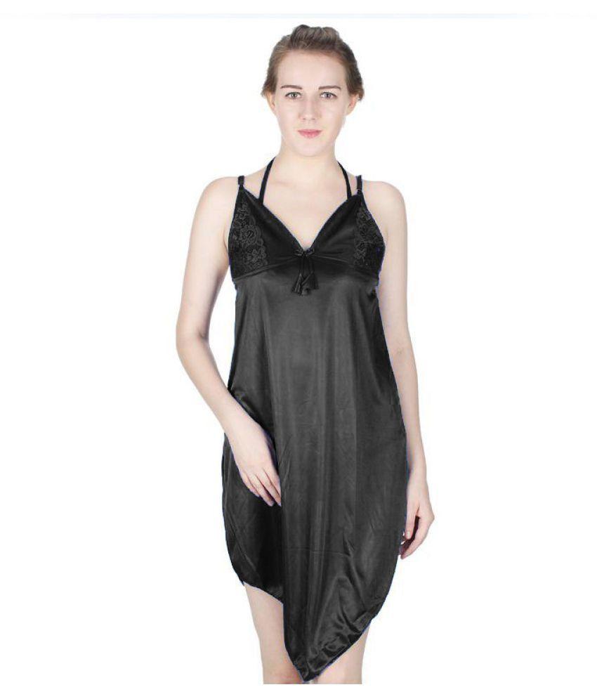 Vloria Black Satin Nighty & Night Gowns