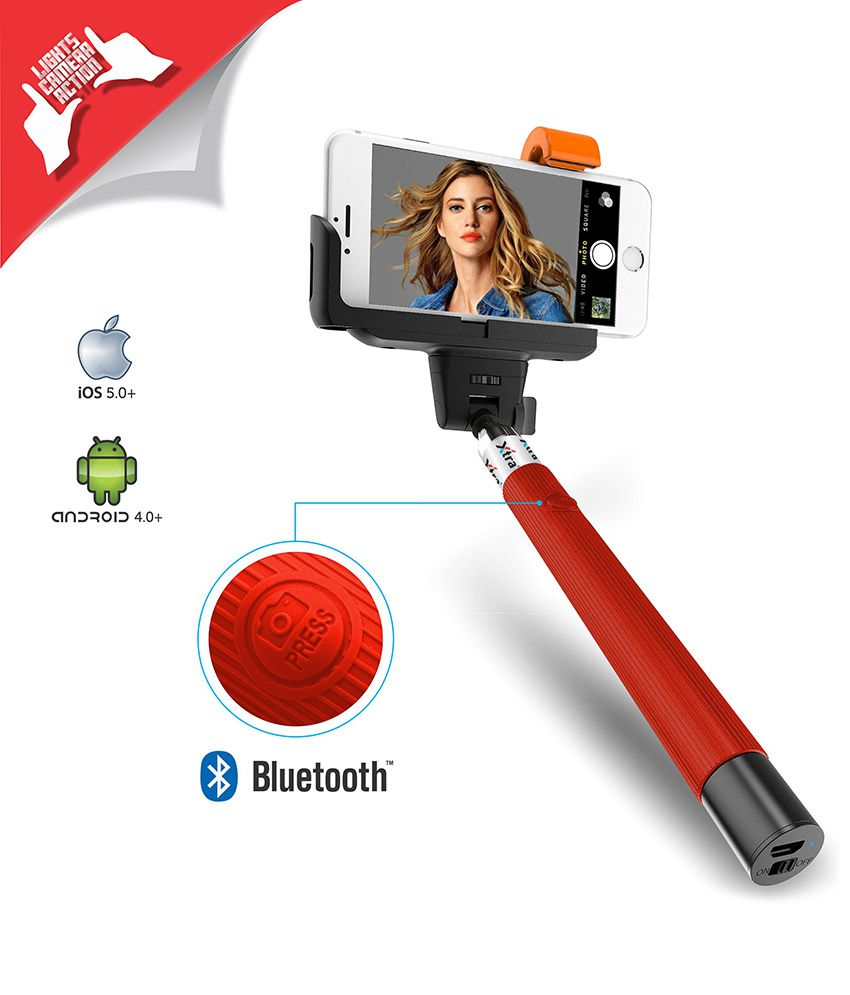 xtra selfie stick pro with built in bluetooth remote button on the handle for smart clicks apple. Black Bedroom Furniture Sets. Home Design Ideas