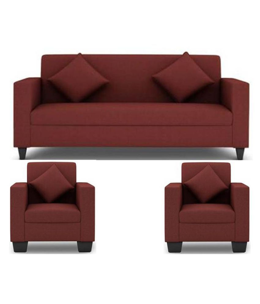Westido 5 Seater Sofa Set In Maroon Upholstery With