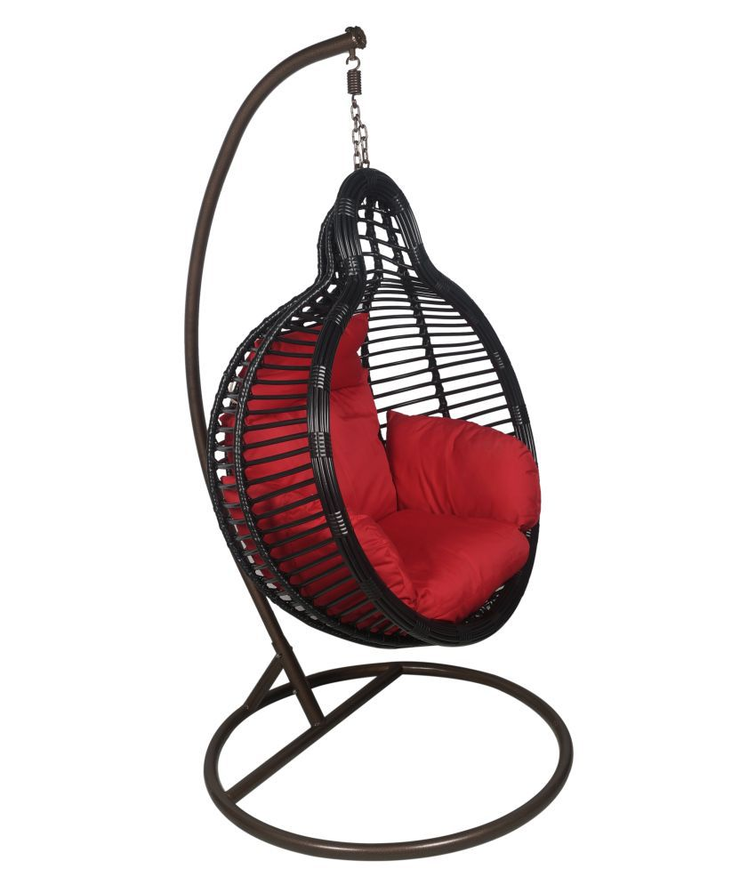 Outkraft Hanging Chair Swing With Cushions Stand Black