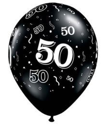 "11"" 10 Around 50th Onyx Black (10/b Latex Balloons (10 Per Package)"