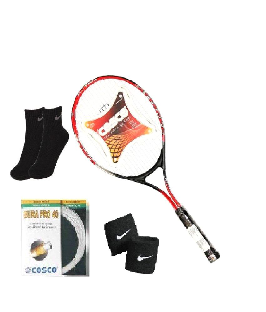 Combo of Cosco Attacker Tennis Racquet with Extra String (Dura Pro) & Pair of Socks & Wristband
