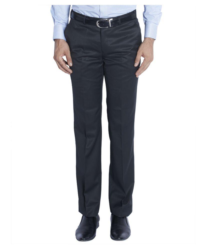 Raymond Blue Regular Flat Trouser