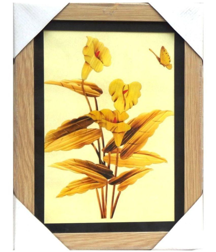 AMAZING COLLECTIONS Bamboo Art Acrylic Floral Paintings With Frame Single Piece