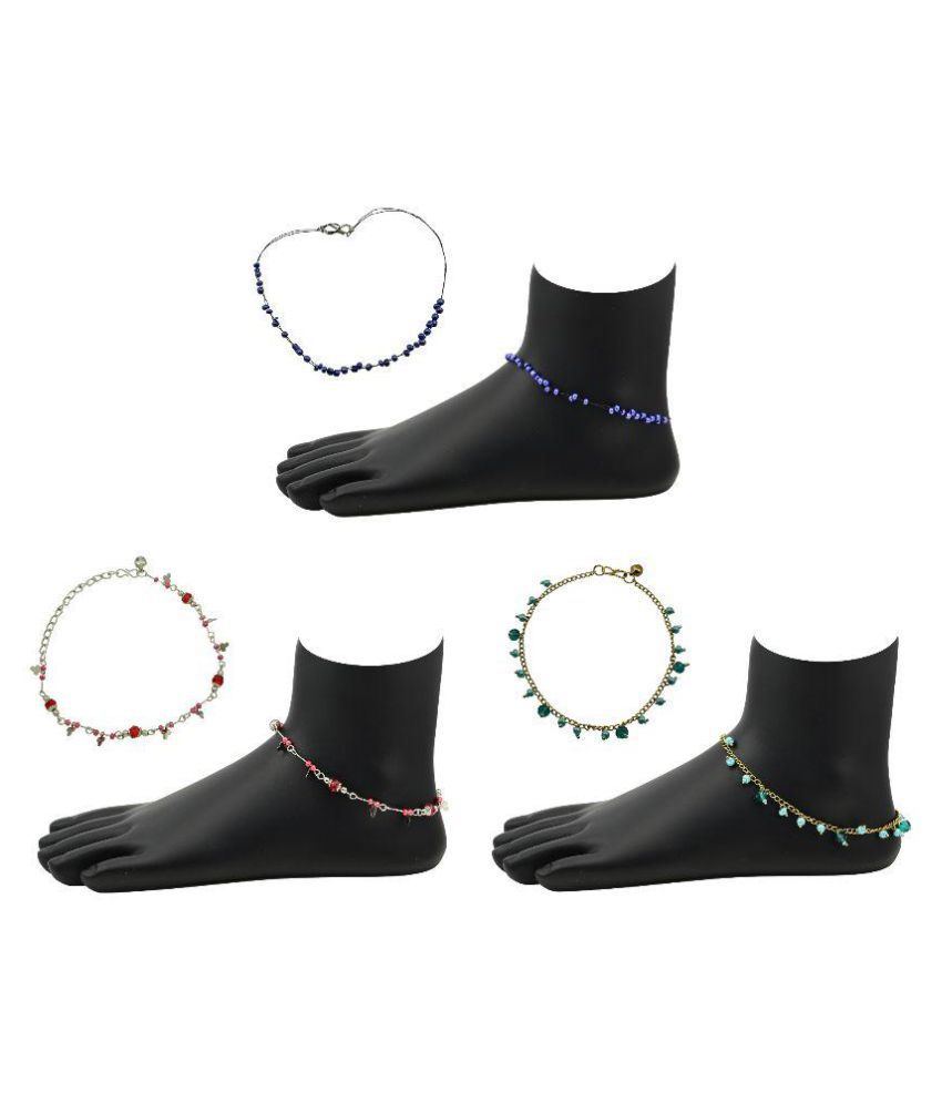 High Trendz Multicolour Anklet Pair of 3