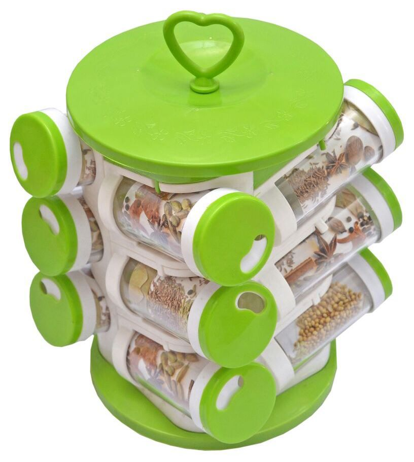 Magikware Green Spice Container 12 Pcs Polycarbonate Spice Container Set of 11-20