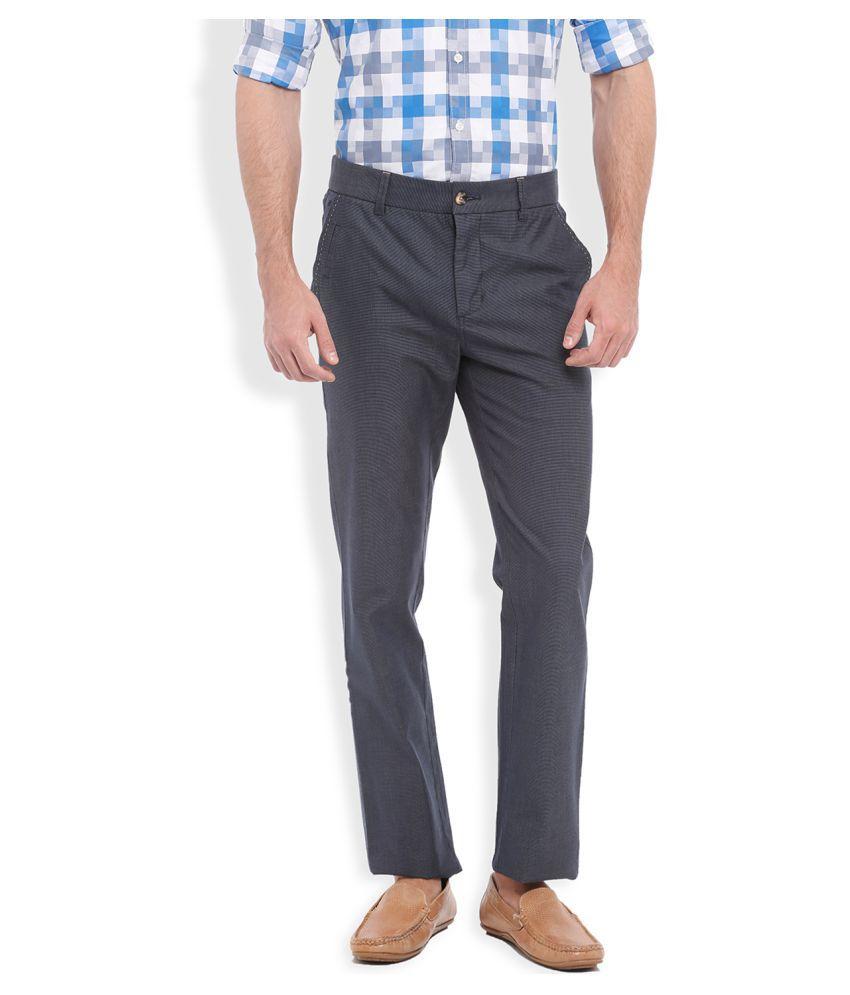 Parx Blue Regular Flat Trouser