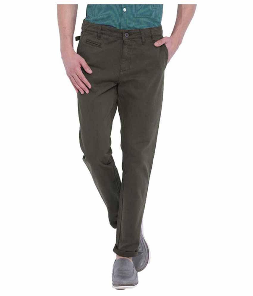 Blue Saint Dark Green Slim Flat Trouser