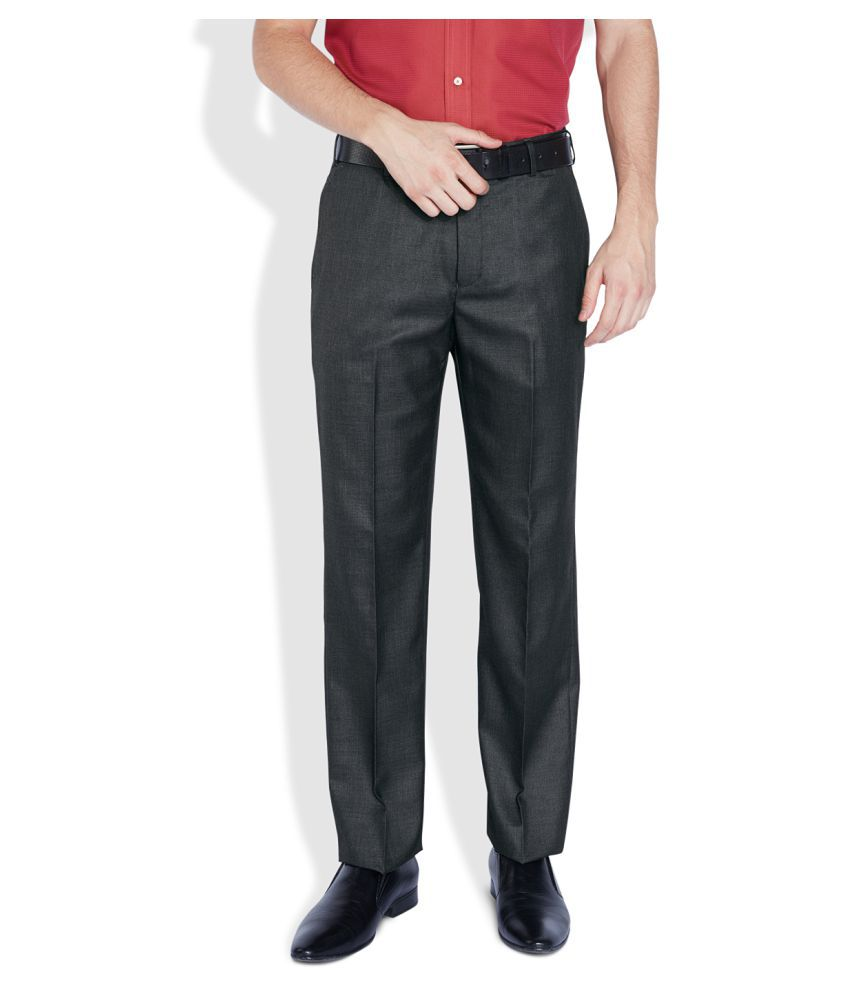Park Avenue Black Regular Flat Trouser