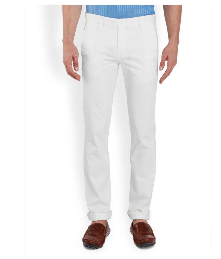 Park Avenue White Regular Flat Trouser