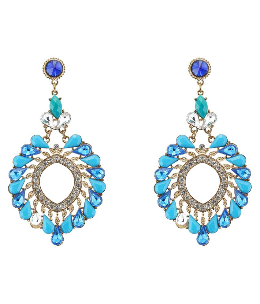 Rizir Fashion Blue Gold Plated Hanging Earrings