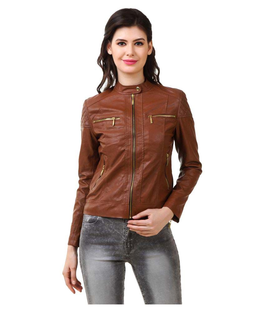 MoonBella Brown PU Leather Biker