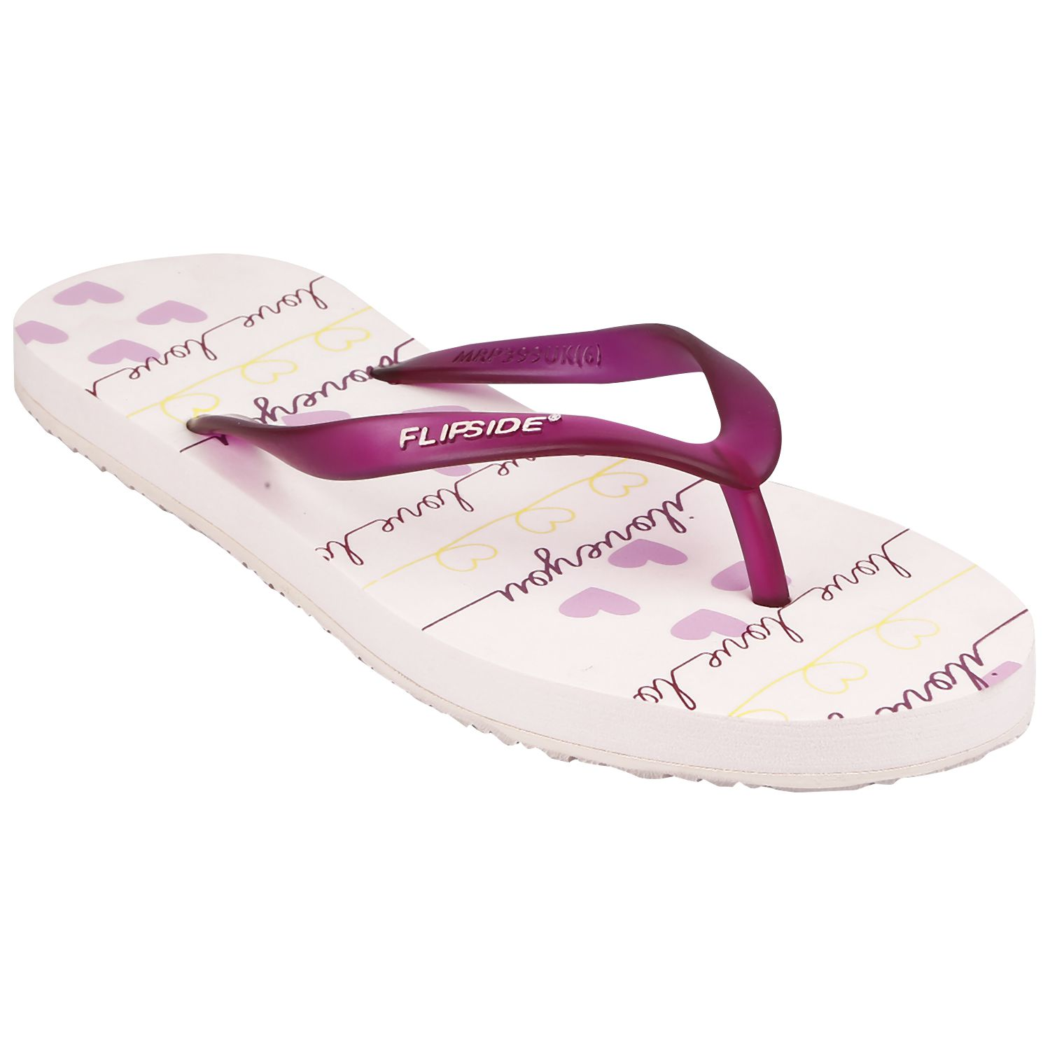 Flipside Womens I Love You Pink Flipflops
