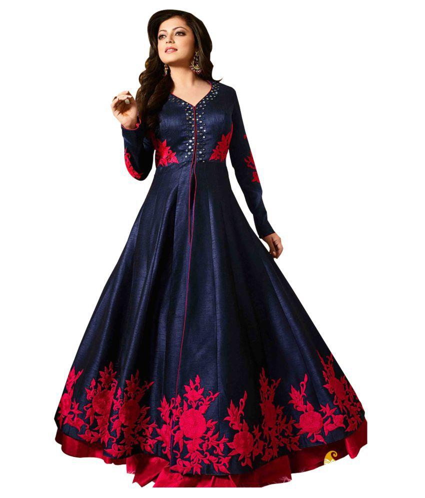 52adba46ad9d4 Pavitrienterprise Navy Bhagalpuri Silk Dress Material