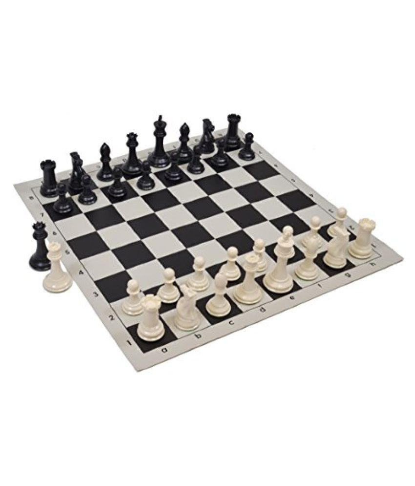 Wholesale Chess Quadruple Weighted Chess Pieces and Vinyl Board - Ivory/Black Pieces - Black Board