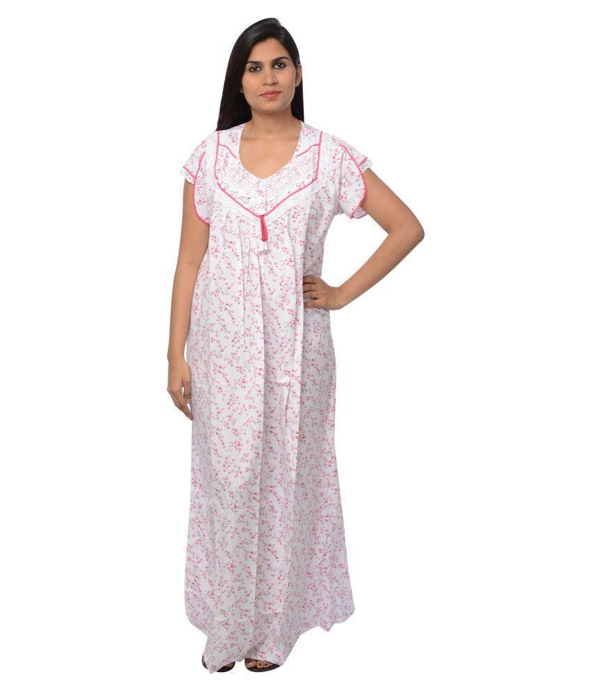 Buy Pretty Girl White Cotton Nighty   Night Gowns Online at Best Prices in  India - Snapdeal 9f8b5d700