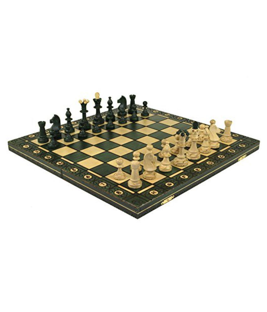 SENATOR GREEN HANDCRAFTED TOURNAMENT WOODEN CHESS Board 16 x 16 Inch- Chessmen Weighted