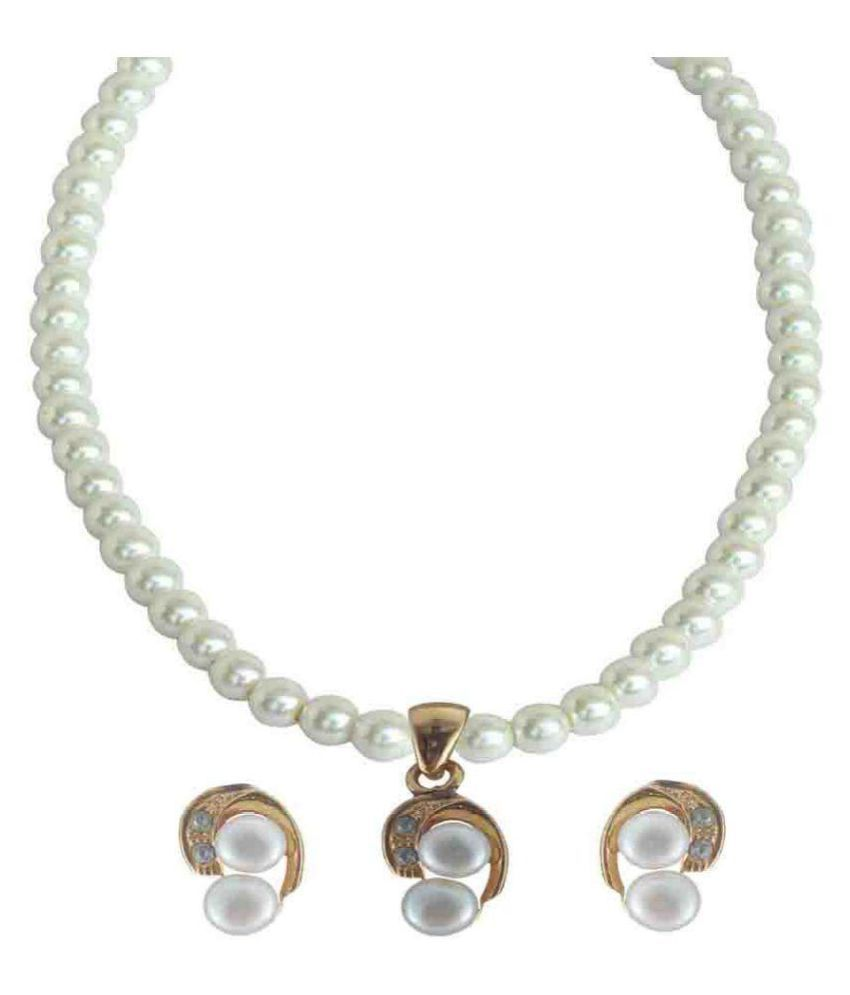 Rejewel White Pearl Necklace Set
