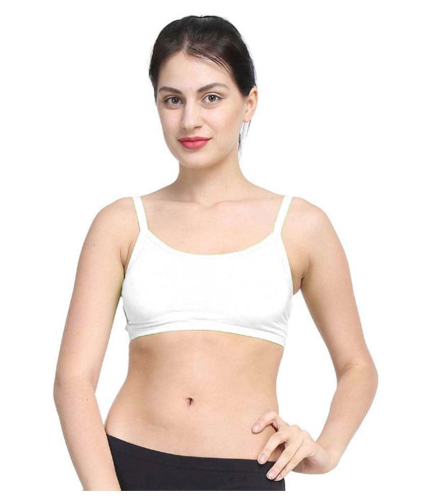 Bahucharaji Creation White Cotton Lycra Cami bra