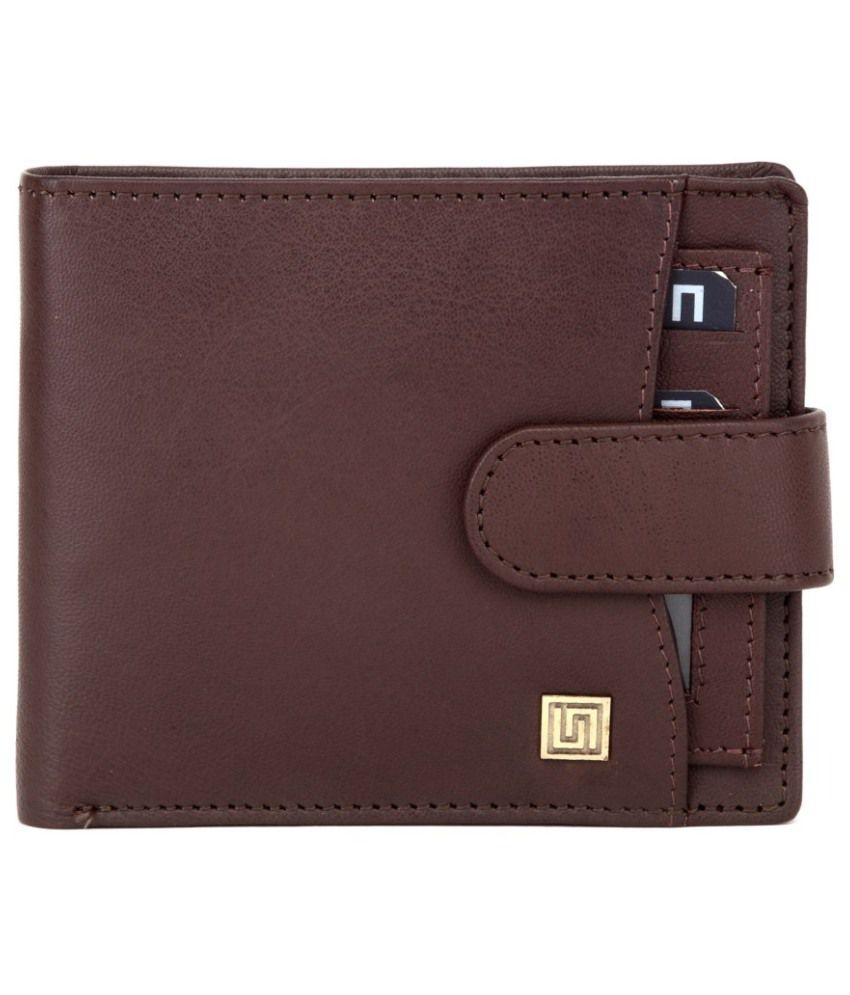 U+N Brown Leather Regular Wallet For Men