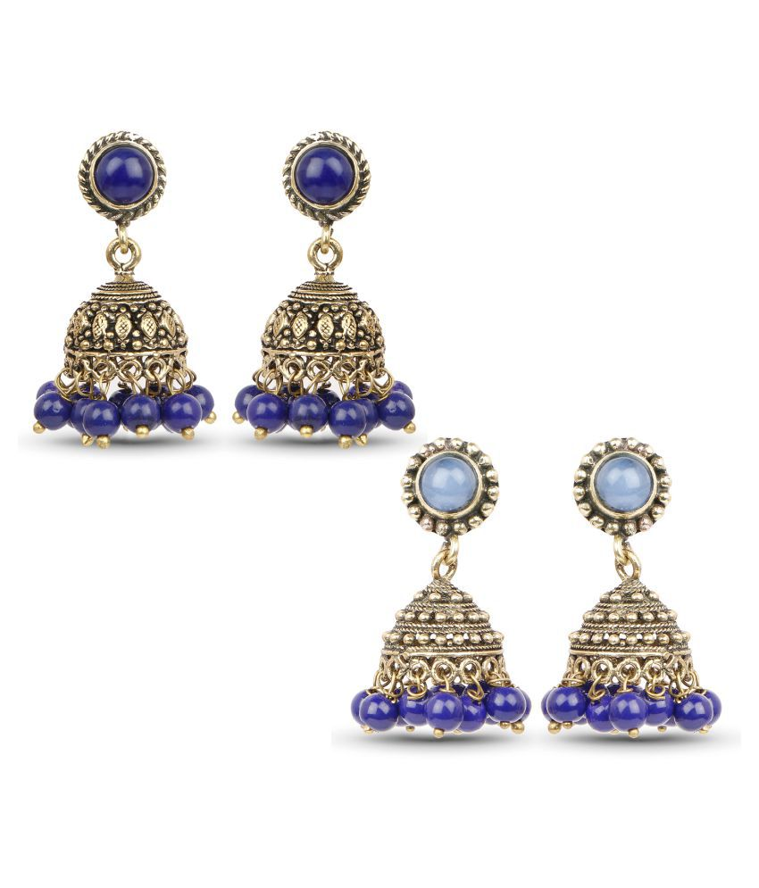 Johareez  Blue Jhumki Earrings Combo