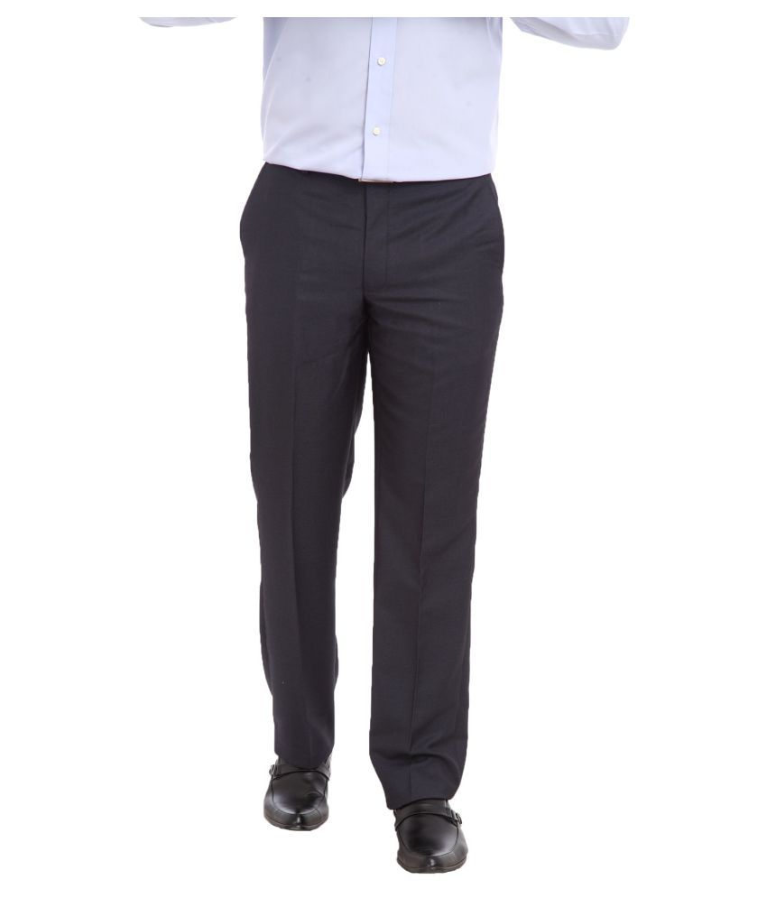 Park Avenue Black Regular Pleated Trouser