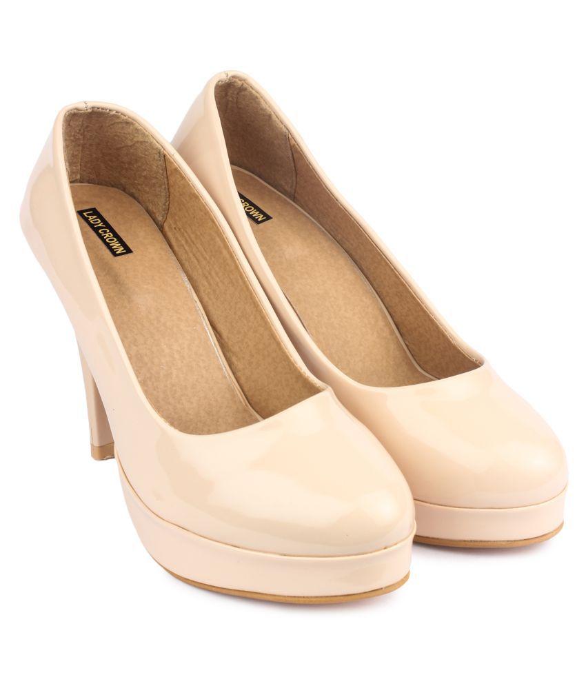 Lady Crown Beige Cone Heels