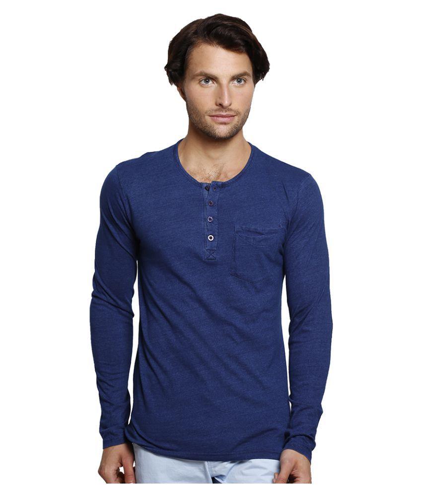 Slub Blue Henley T-Shirt